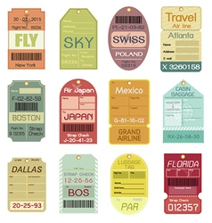 set vintage luggage tags vector image