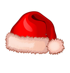 single cap of santa claus with fluffy pompom vector image