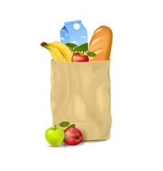 Slim Paper Bag With Supermarket Products vector image