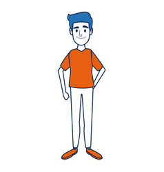 Standing man young people cartoon image vector