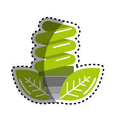 Sticker green energy save bulb with leaves icon vector