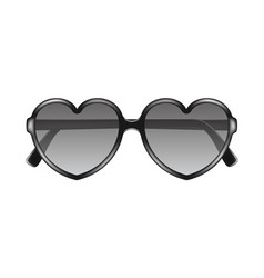 sun glasses in shape of heart in black design vector image