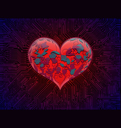 Surround glowing glass red heart with interwoven vector