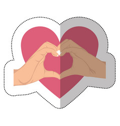 symbol hand with heart shape with inside breast vector image