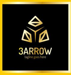 three arrows logo luxury royal metal gold vector image