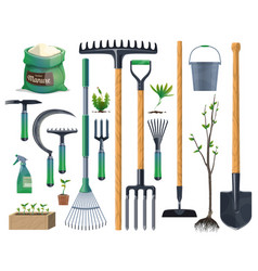 Tools and equipment gardening and agriculture vector