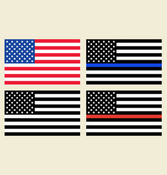 Us flags set vector