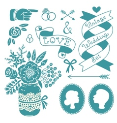 Wedding set of vintage design elements vector image