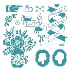 wedding set vintage design elements vector image