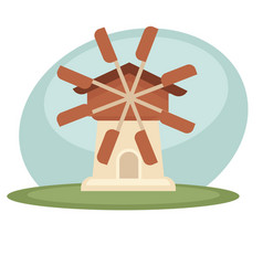 Windmill in field vector