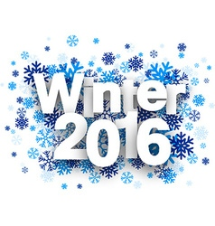 Winter 2016 paper sign over snowflakes vector