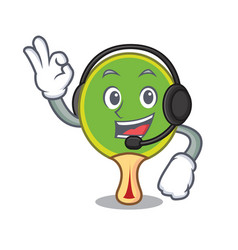 With headphone ping pong racket mascot cartoon vector