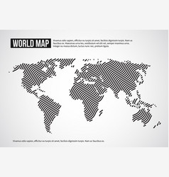 World map of wavy lines abstract globe continents vector