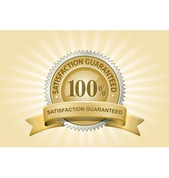 yellow satisfaction guaranteed sign vector image