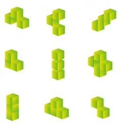 3d cubes set vector image