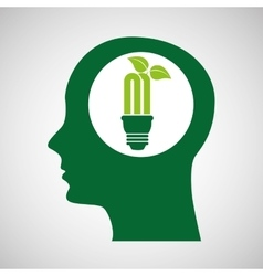 concept environment bulb plant silhouette head vector image