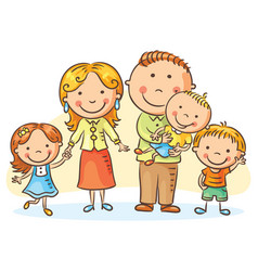 happy family with three children vector image vector image
