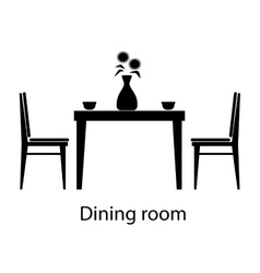 Home and hotel dining room interior with furniture vector image