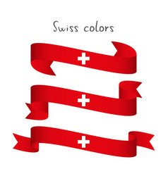 set of three ribbon with the swiss colors vector image vector image