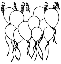 sketch silhouette set flying balloons and vector image vector image