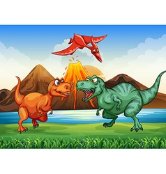 Dinosaurs fighting in the field vector image vector image