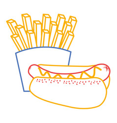 hot dog and french fries food diet vector image