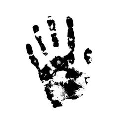 Human grunge handprint with skin texture vector image