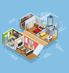 Interior Isometric Composition vector image
