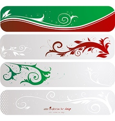 Red and Green Floral Design Set vector image vector image