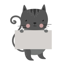 Wild animal cat strike with clean plate board vector image