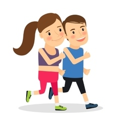 Young fitness runners vector image