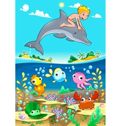 Boy and dolphin with fish unde the sea vector image