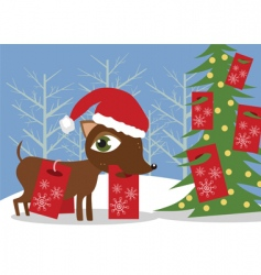 doggy with Christmas presents vector image vector image