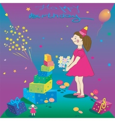 Happy Birthday of gift girl and salute vector image vector image
