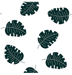 monstera tropical leaves seamless pattern vector image