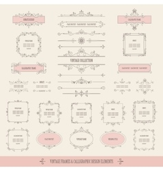 Vintage frames borders labels dividers big set vector image