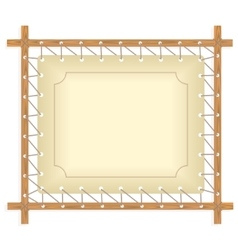 Wooden frame hanging on crude rope vector image