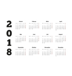 2018 year simple calendar on german language vector image vector image
