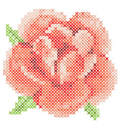 cross stitch red rose vector image