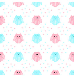 cute pink and blue owls with stars in the vector image vector image