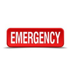 emergency red 3d square button isolated on white vector image vector image
