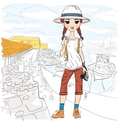 girl traveler with photo camera in port vector image