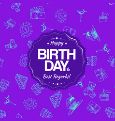 purple birthday seamless pattern with hand drawing vector image