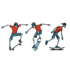 set of skeletons skateboarders vector image