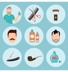 Set of vintage barber shop elements logo labels vector image vector image