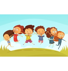 Team Of Cheerful Friends Holding Hands And Jumping vector image vector image