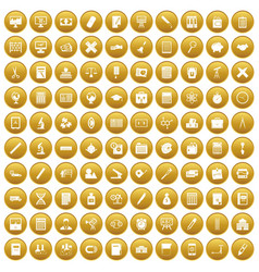 100 calculator icons set gold vector