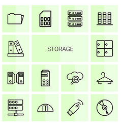 14 storage icons vector image
