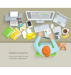 Accounter Workplace Flat vector image