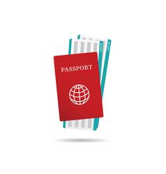 Air ticket with passport vector